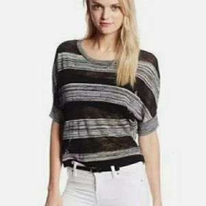 BCBG MAXAZRIA CAMILLE STRIPED SHORT SLEEVE SWEATER